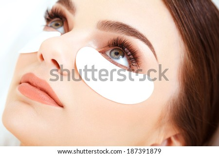 Cosmetic Treatment Woman Eye with Long Eyelashes Eyelash Extension