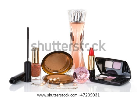 Cosmetics and jewellery is isolated on a white background