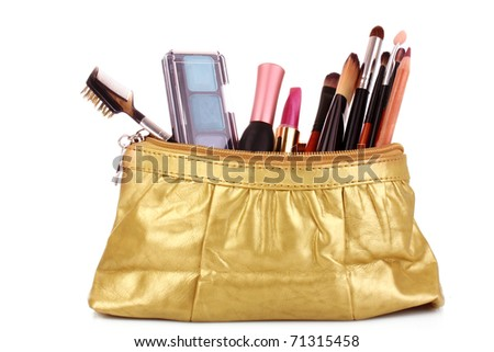 cosmetics bag with cosmetic on white