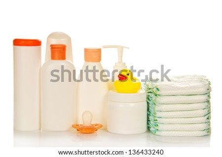 Cosmetics bottle for care of the newborn and diapers, isolated on white