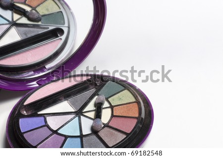 cosmetics box with a mirror on top
