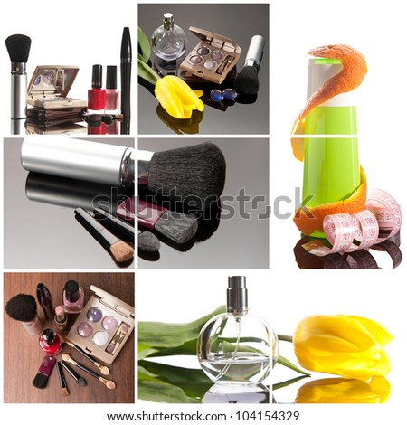 Cosmetics collage: make-up brushes, lipsticks, perfume and creams