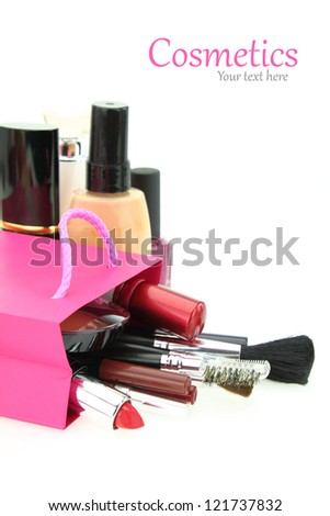 Cosmetics come out from a shopping bag