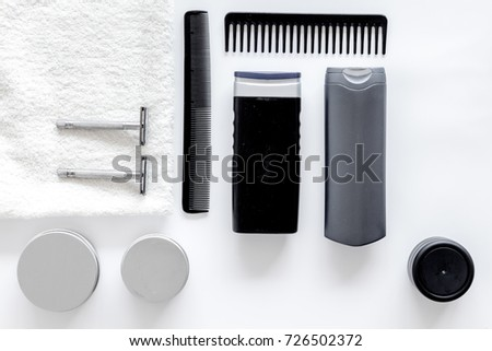 Cosmetics for men's hair on white background top view #726502372