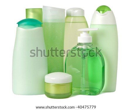 Cosmetics in green containers