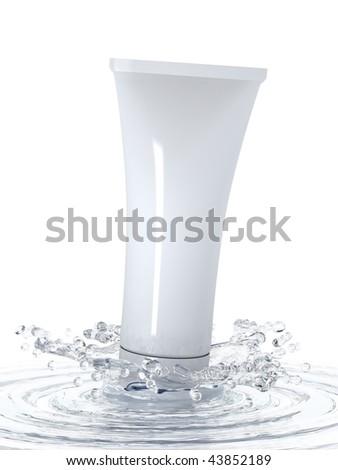 Cosmetics in water splash. 3d illustration.