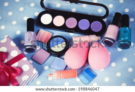 Cosmetics on table.