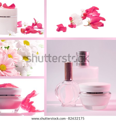 Cosmetics set of photos in a delicate pink color