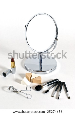 Cosmetics set over a white background