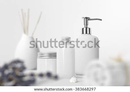 Cosmetics SPA branding mock-up, front view, on white background, place your design