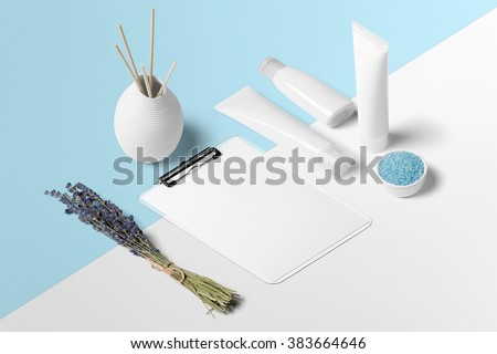 Cosmetics SPA branding mock-up, isometric view, on white and blue background, place your design