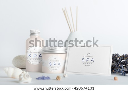 Cosmetics SPA branding mock-up, top view, on white background, place your design