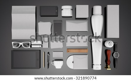 Cosmetics templates. Corporate identity templates:blank, business cards, disk, envelope, smart phone, pen, badge, cup, brand-book, bottle, tube.