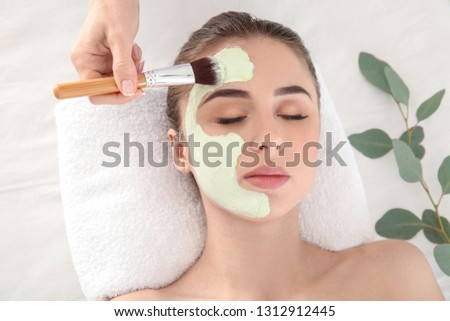 Cosmetologist applying mask onto face of young woman in beauty salon