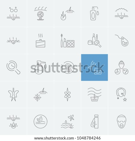 Cosmetology icons set with cosmetic fragrance, dna oil and face care elements. Set of cosmetology icons and medical plasters concept. Editable  elements for logo app UI design.