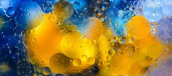 Cosmic abstract background. Abstract molecule sctructure. Water bubbles. Macro shot of air or molecule. Abstract space background. Selective focus. Banner