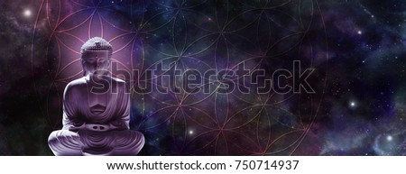 Cosmic Buddha meditating on the Flower of Life - Lotus position buddha on left with a magenta glow against a wide dark starry night background and the Flower of Life symbol