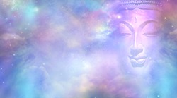 Cosmic Buddha Vision Cloud scape - Semi transparent Buddha face with closed eyes amongst the celestial heavens providing a beautiful  pink and blue sky background