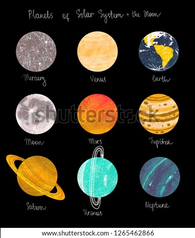 cosmic set with planets and moon on background #1265462866