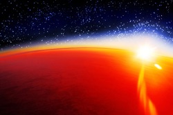 Cosmic sunset landscape, sunrise in cosmos over planet Mars horizon, stars, dark blue sky, yellow sun light rays, red sunlight glow, celestial bodies view, abstract alien galaxy, fantasy outer space