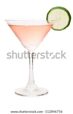 cosmopolitan cocktail isolated on a white background decorated with a lime wheel