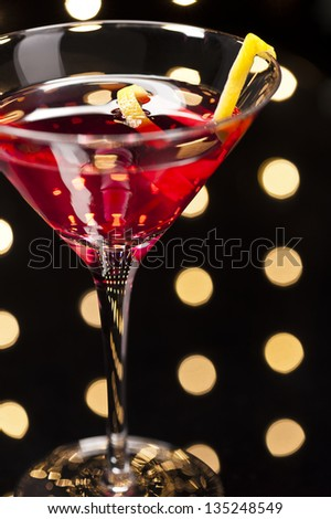 Cosmopolitan Cosmo cocktail in Disco setting