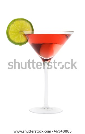 Cosmopolitan mixed drink with lime slice on a white background