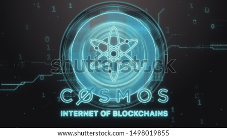 Cosmos cryptocurrency symbol. Hi-tech futuristic background illustration.