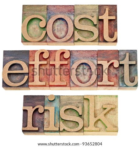 cost, effort, risk - business concept - a collage of three isolated words in vintage wood letterpress printing blocks - stock photo