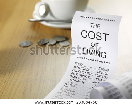 Cost of living expense list showing the prices of running a home on a wooden background with coins and a coffee cup.