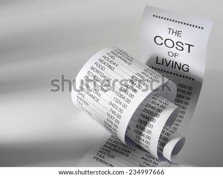 Cost of living shopping list showing the expense of home finance with copy space
