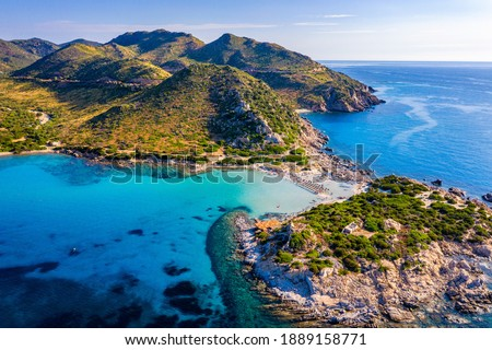 Cost of Sardinia: Peninsula of Punta Molentis. View of beautiful beach at Punta Molentis, Villasimius, Sardinia, Italy. Beautiful bay with sandy beach at Punta Molentis, Sardinia island, Italy. Stockfoto ©