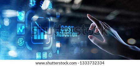 Cost reduction business finance concept on virtual screen. Сток-фото ©