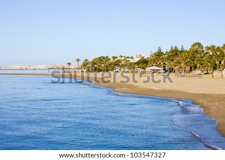 Costa del Sol beach at Mediterranean Sea in Marbella, southern Spain, Andalucia region.