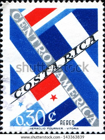 COSTA RICA - CIRCA 1964: A stamp printed in Costa Rica shows flags of Central American countries, circa 1964