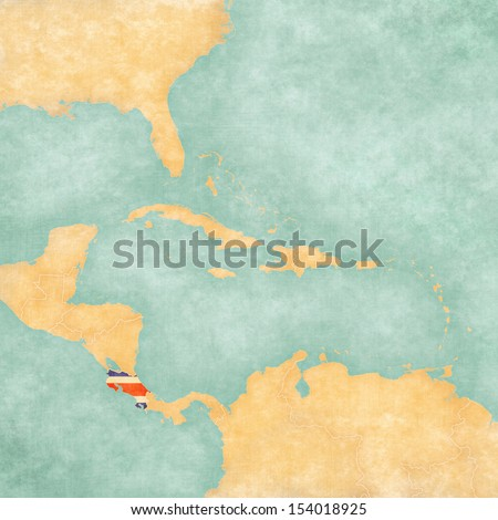 Costa Rica (Costa Rican flag) on the map of Caribbean and Central America. The Map is in vintage summer style and sunny mood. The map has vintage atmosphere, which acts as a watercolor painting.