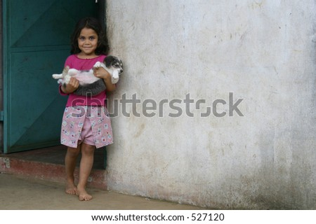 Costa Rica - cute girl and her puppy