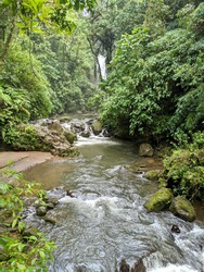 Costa Rica. Five waterfalls that line the trail. The park has the closest waterfalls to San Jose and Poas Volcano. Jungle. Rain forest. Beautiful river.