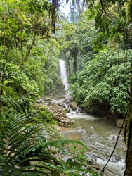 Costa Rica. Five waterfalls that line the trail. The park has the closest waterfalls to San Jose and Poas Volcano. Jungle. Rain forest.