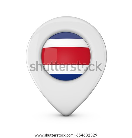 Costa Rica flag location marker icon. 3D Rendering #654632329
