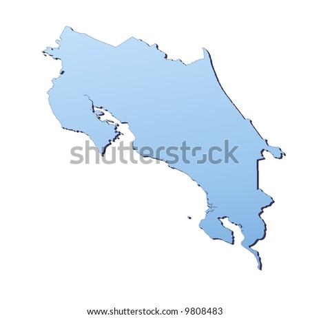 Costa Rica map filled with light blue gradient. High resolution. Mercator projection.