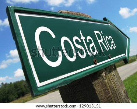 Costa Rica road sign - stock photo