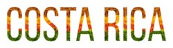 costa rica. word is written with leaves white isolated background, banner for printing, creative of color leaves rica