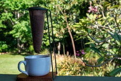 Costa Rican-Style Pour-over Coffee Maker on the porch.