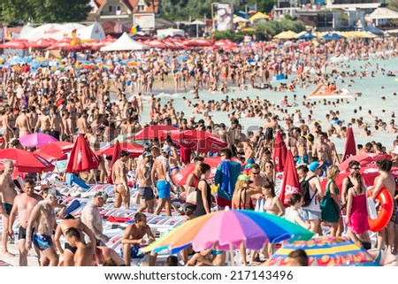 COSTINESTI, ROMANIA - AUGUST 15, 2014: Costinesti Beach Crowded With People At The Black Sea.