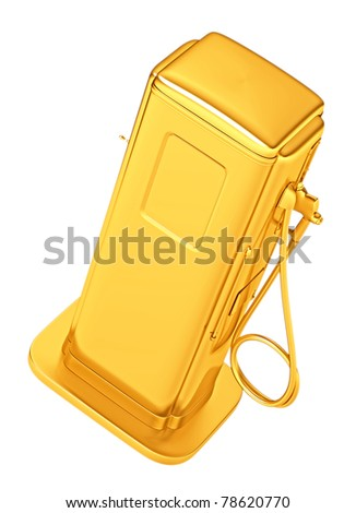 Costly gasoline: golden fueling pump isolated on white. Large resolution