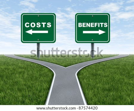 Costs and benefits dilemma at a cross road or forked highway representing the difficult choice between choosing negative or positive outlook.