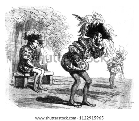 Costume to Dropped, vintage engraved illustration. From The Tortures of Fashion.