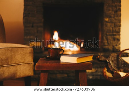 Cosy fireplace in a mountain chalet #727603936
