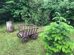 Cosy Garden Nook with a Small Hay Wagon